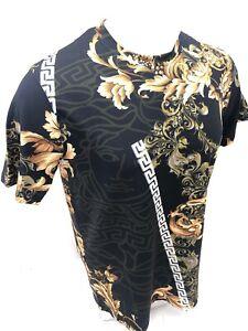 Homme-prestigieux-Shirt-a-Manches-Courtes-Noir-Feuille-d-039-OR-DIAMANT-RUBIS-Silky-108-Nouveau