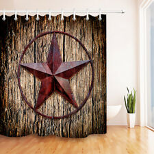 Item 4 Shower Curtain Liner Rustic Retro Old Boards Lone Star 71X71 Waterproof Fabric