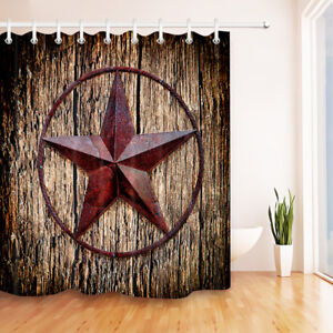 Retro Texas Star Western America Fabric Shower Curtain Set Bathroom Decor Hooks