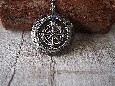 Compass Necklace Oxidized Silver Tone Locket Pendant Necklace Handmade