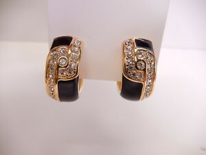 Details About Signed Swarovski Earrings Crystal Black Enamel Gold Clip