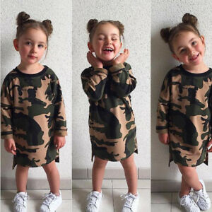Toddler-Kid-Baby-Girls-Camouflage-Printed-Dress-Cotton-Blend-Outfit-Clothes-Set