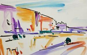 JOSE-TRUJILLO-Clouds-American-ORIGINAL-Watercolor-Painting-ABSTRACT-HILL-6X9