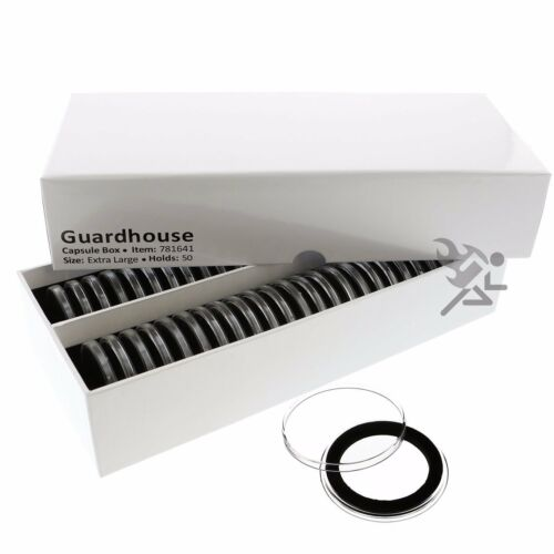 XL Guardhouse Coin Storage Box and 50 Air-Tite 38mm Black Ring Capsule Holders