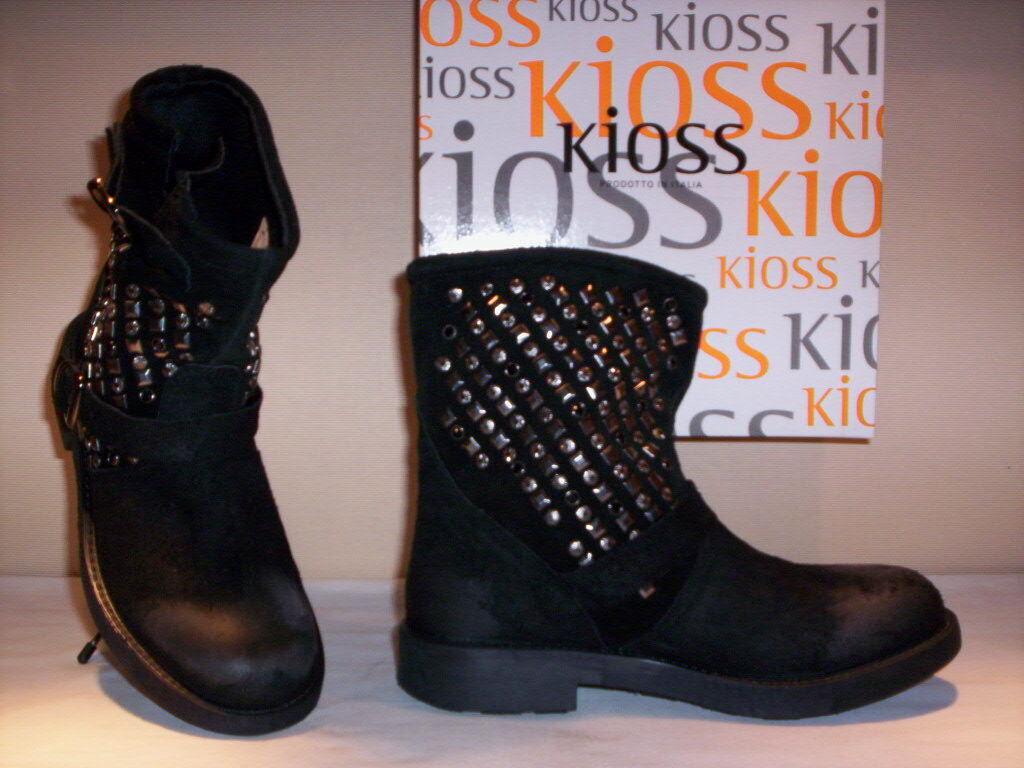 Chaussures bottes bottines à gros talon Kioss femme clous noir 36 37 38 39 40 41