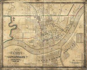Cincinnati Map Map Of Cincinnati 1838 Ohio Street Map Wall Map Decor