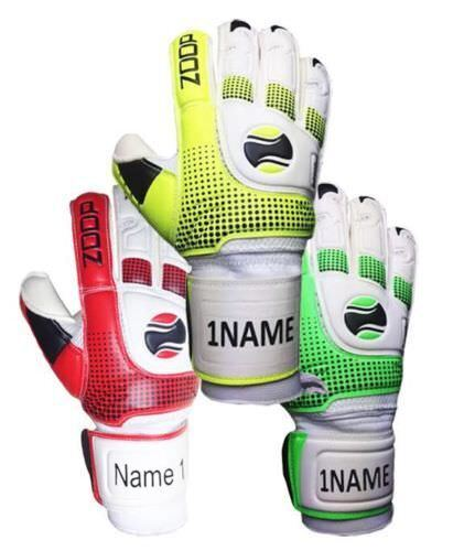 Zoop Goalkeeper Gloves Goalie Roll Finger Saver Adult Size 9 Green Red Yellow
