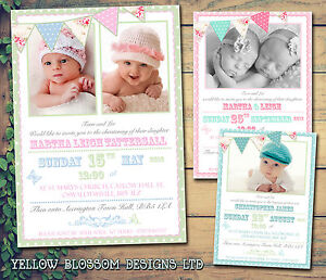 Details About 10 Bunting Shabby Chic Boys Twin Christening Naming Day Baptism Invitations