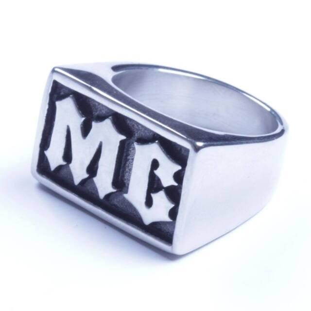 USA Seller Men's Stainless Steel MC Initial Letter Biker Ring Size 8-14 SR82