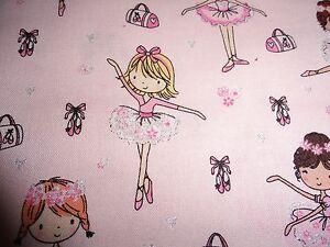 Ballerina-Princess-Cotton-Fabric-Pink-Hearts-Ballet-Dancer-Little-girl-Tutu