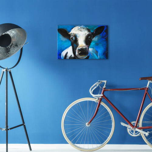 Blue Black White Cow  Red Funky Animal Canvas Wall Art Large Picture Prints