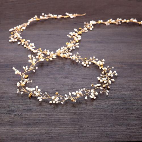 Women Bride Wedding Headwear Crystal Pearl Hair Band Bridal Hair Jewelry Gift US