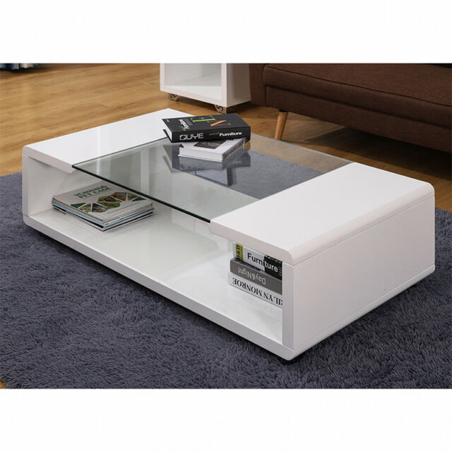 Furniture Tempered Glass Top Rectangle Coffee Table High Gloss Legs With Under Storage Home Furniture Diy Itkart Org