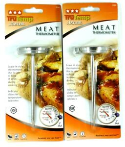 Lot-of-2-TAYLOR-PRECISION-3504-Meat-Dial-Cooking-Thermometer