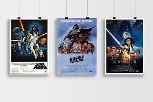 Star Wars The Trilogy Film Poster Set In A4 A3