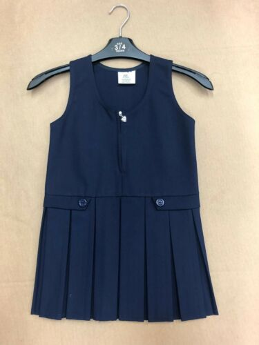 KIDS GIRLS SCHOOL UNIFORM BOX PLEATED FRONT ZIP PINAFORE DRESS