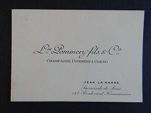 Ancienne Carte De Visite CHAMPAGNE POMMERY Amp GRENO