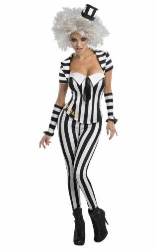 Adult Miss BEETLE JUICE Fancy Dress Costume Ladies Halloween Outfit 80/'s Horror
