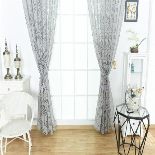 Vintage Voilage de Fenêtre Floral Store Décoration pour Chambre Salon Gris