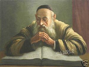 RABBI-Reading-TORAH-Jewish-JUDAICA-CANVAS-Giclee-Art-Print-LARGE-19-034-x-13-034