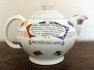 Rare-Crown-Ducal-Hitler-Teapot-WWII-War-Against-Hitlerism-Tea-Pot-Art-Deco
