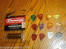 BRAND NEW DUNLOP GUITAR SLIDE & 12 HEAVY PICKS BLUES STAGE STUDIO COMO PACKAGE