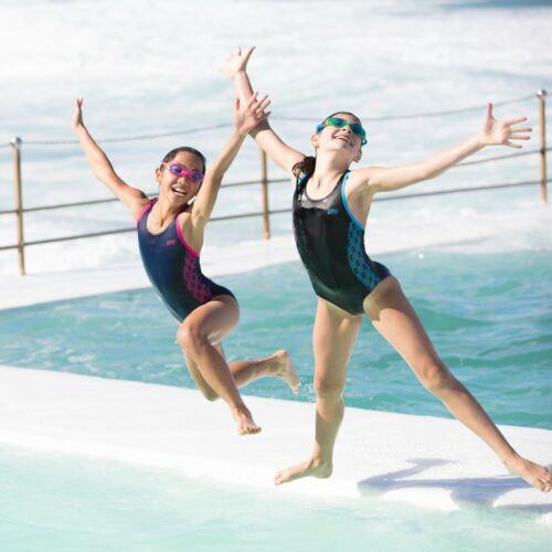 Zoggs Filles Filles Solo SPLASH BACK maillot de bain Noir//Bleu Âge 5-6 11-12 13-14 Sport