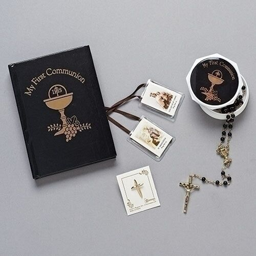 Boy's First Holy Communion Gift Set Missal Rosary and Lapel Pin 12268   eBay