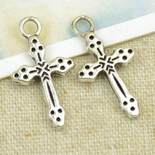 20pc Tibetan Silver Charms Cross Pendant Jewellery Accessories Wholesale PL866