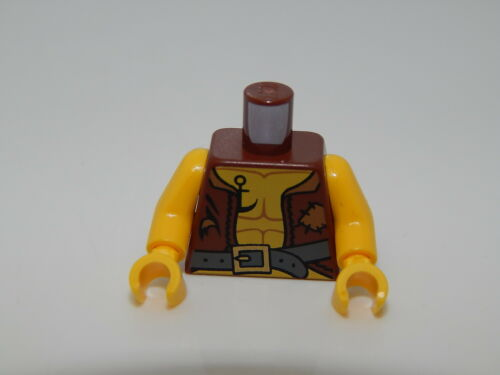 Lego Reddish Brown Torso Pirate Vest Tattered and Anchor Tattoo #103