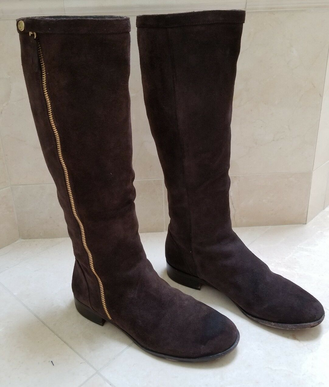 J CREW Brown Suede Knee High Riding Boots Womans Size 9