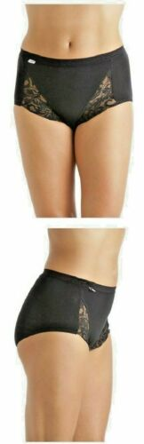 LADIES MULTI PACK OF 3 BLACK OR WHITE COTTON LACE DETAIL MAXI BRIEFS SIZES 12-22