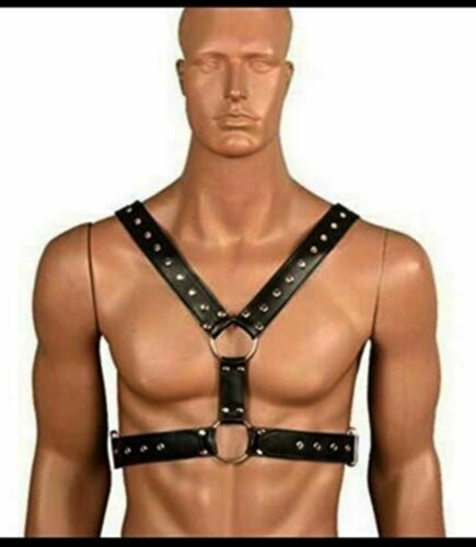 Male Chest Harness Body Beginner Restraints Leather GOTH GAY straps clubwear