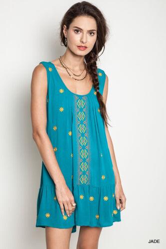 Umgee Dress Size XL S M L Embroidered Tank Tunic Free Boho People Womens New