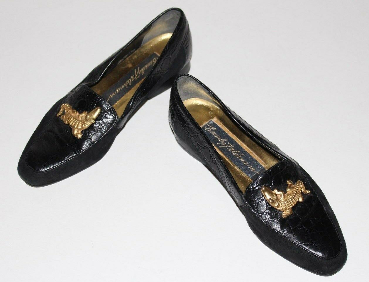 Beverly Feldman 5.5 M Black Leather Suede Loafer gold Alligator Flat Heel UF Moc