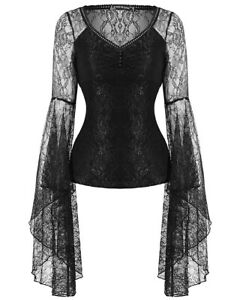 Dark-In-Love-Womens-Gothic-Top-Black-Lace-Sleeve-Steampunk-Vintage-Witch-Vampire