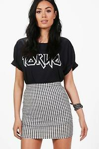 NEW-Boohoo-Womens-Aurora-Gingham-Print-Basic-Mini-Skirt-in