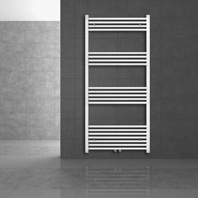 Scaldasaviette termoarroto diritto piegato riscaldamento radiatore bagno bianco
