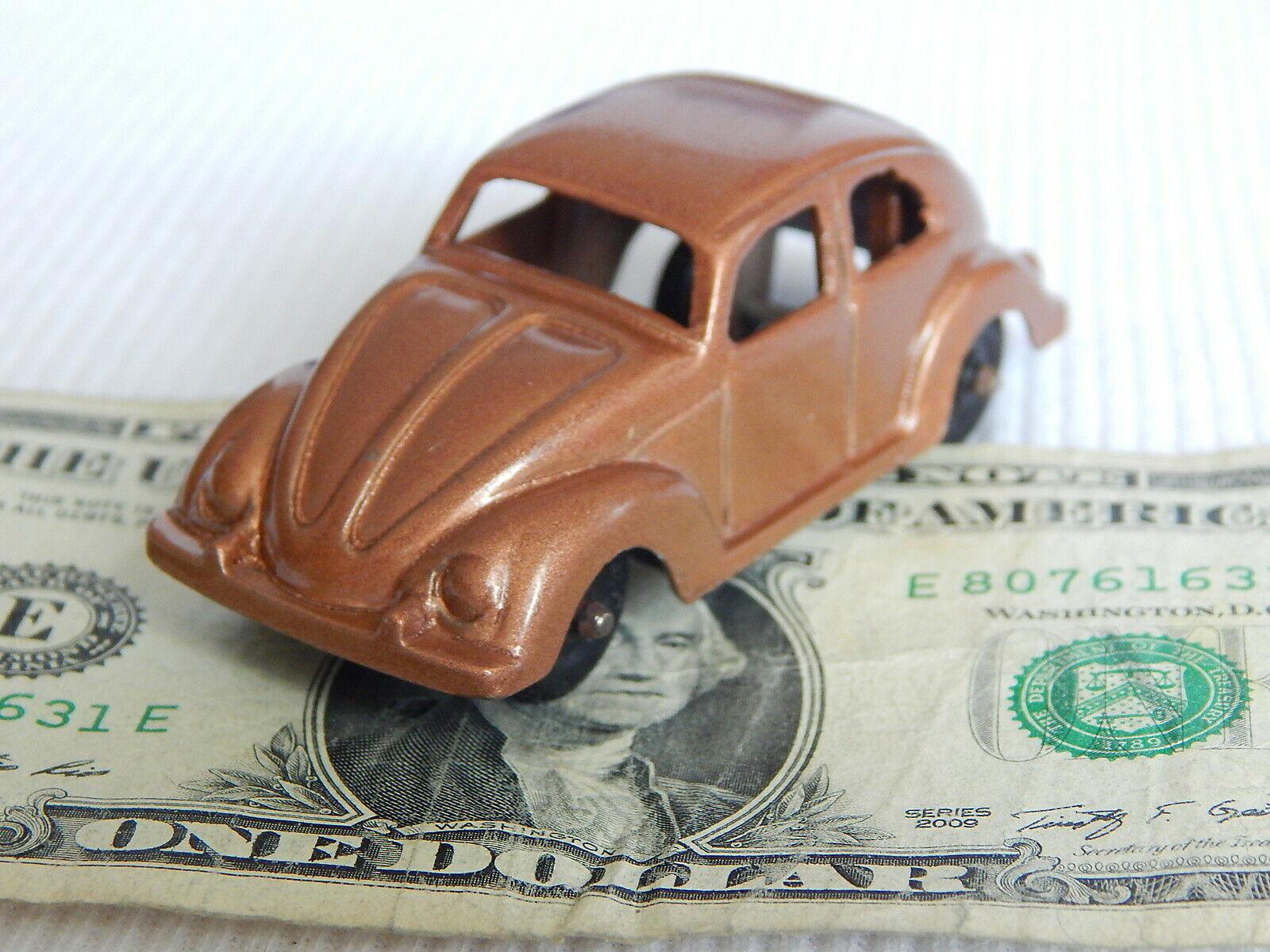 Tootsietoy De Colección 1960 Volkswagen VW Beetle Bug 3  bronce cobre coche de juguete Diecast
