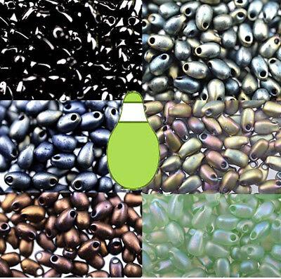 10 Grams of 180 Two Tone Colored Miyuki Glass Drop Fringe Teardrop Seed Beads