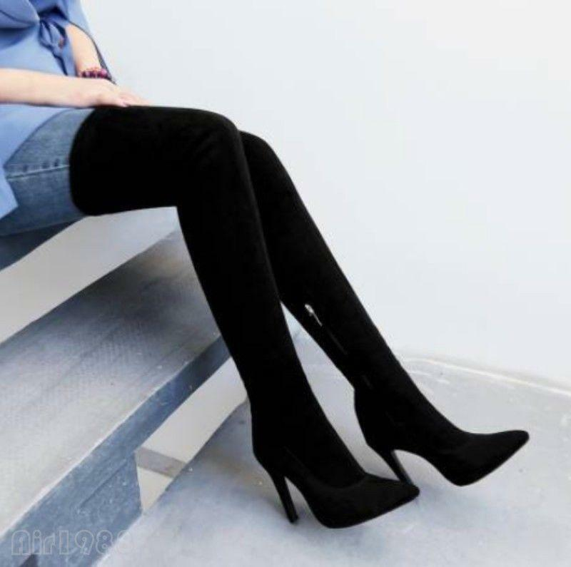 Hot  Women's  Pointy Toe side zip Faux Suede Over the Thigh High Knee High Boots