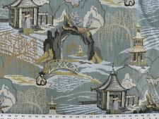 Drapery Upholstery Fabric Linen-Look Slub Asian Countryside Design Toile - Teal