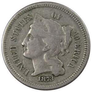 1873 Open 3 Three Cent Piece F Fine Nickel 3c US Type Coin Collectible