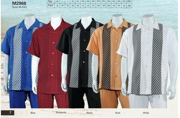 Men's Summer 2-PC Casual set, Shirt & Pants Set, Walking Suit Plaid Solid Design