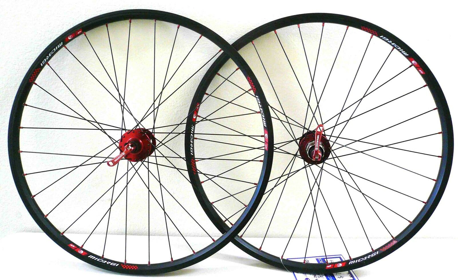26'' x1.5  alloy Mountain Bike wheelset Rims Q R 6-Bolt Disc 8 9 speed Red Hub