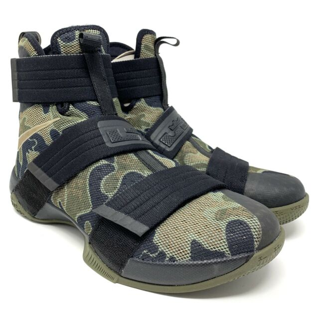 superior quality 65671 f7053 Nike Lebron Soldier X 10 SFG Camo Green Black 844378-022 Basketball Size  10.5
