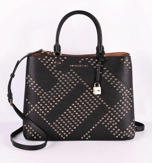 Michael Kors Women Bag Adele LG Satchel Black Dark Khaki 35F8GAFT7L