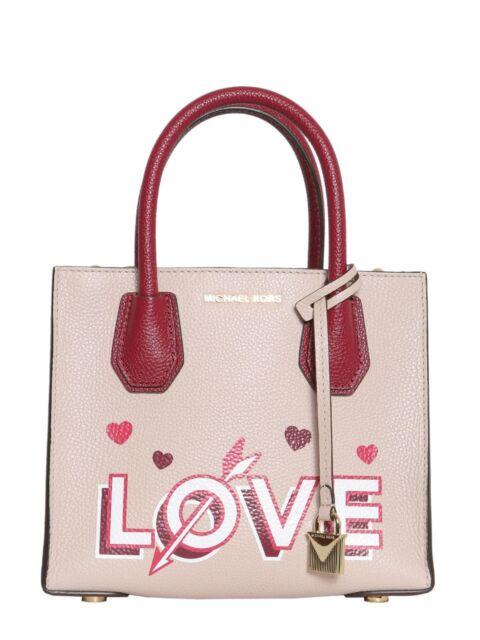 e593bd955053 Michael Kors Mercer Med Messenger Purse Bag LOVE Soft Pink Mulberry Leather  NWT