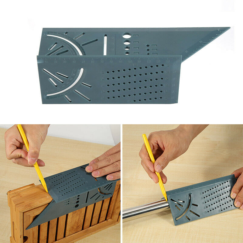 3D Mitre 90 & 45 Degree Angles Square Rule Measuring Woodworking Tool with Gauge 2