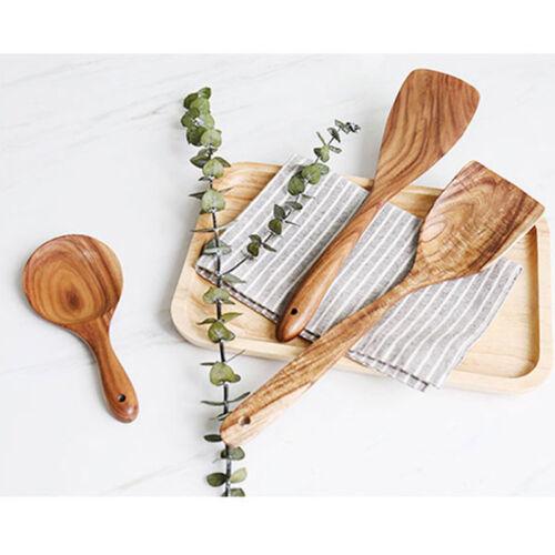 En bois Cuisine Ustensile Set Bambou Cuisine Spatule Cuillères Outils Bois Kit S